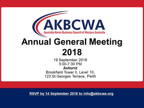 [Event Invitation] AKBCWA Annual General Meeting - 19 September 2018