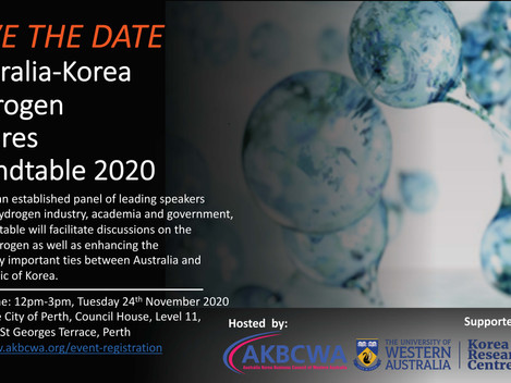Save the date! Australia-Korea Hydrogen Futures Roundtable 2020