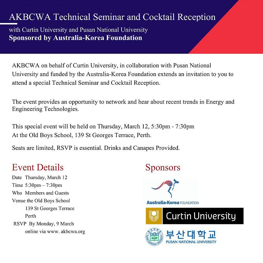 AKBCWA Technical Seminar and Cocktail Reception sponsored by Australia-Korea Foundation