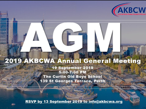 [Event Invitation] AKBCWA Annual General Meeting - 19 September 2019