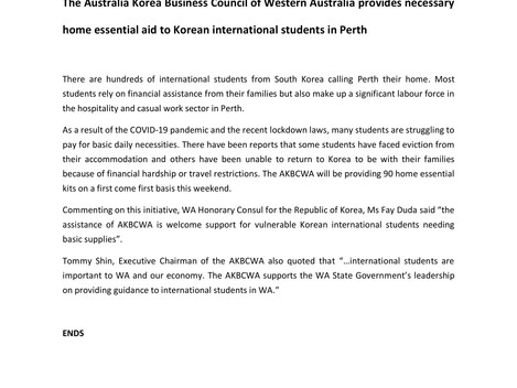 AKBCWA provides necessary home essential aid to Korean international students in Perth