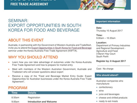 [Event Invitation] Export opportunities in South Korea for food and beverage