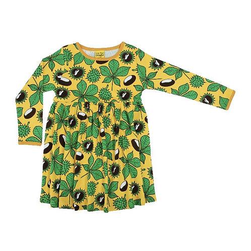 Duns Chestnut Daffodil Yellow LS Twirl/gather dress