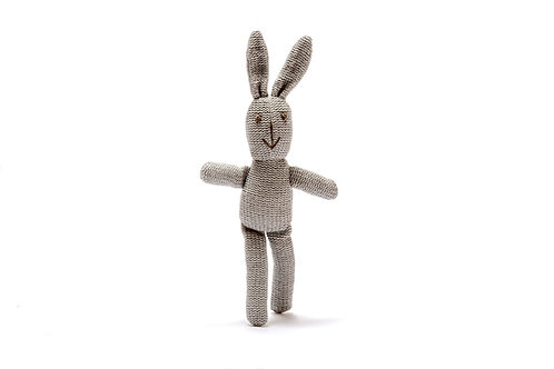 Grey Bunny Organic Cotton Baby Rattle Soft Toy