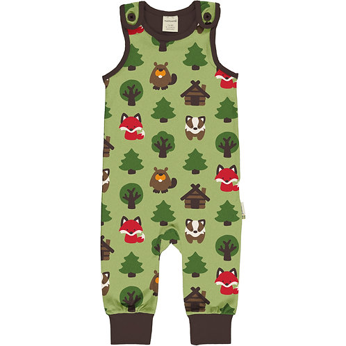 Maxomorra Green Forest Playsuit/dungarees