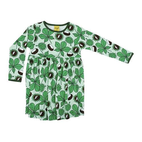 Duns Chestnut Brook Green LS Twirl/gather dress