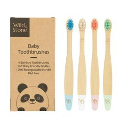 Baby Bamboo Toothbrush - 4 Pack - Extra Soft Bristles