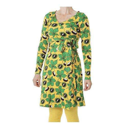 Duns Chestnut Daffodil Yellow Long Sleeved Wrap Dress