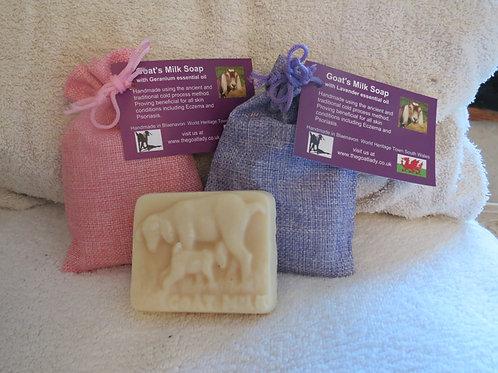 Goats Milk Soap (Medium) with essential oils –Organics Geranium