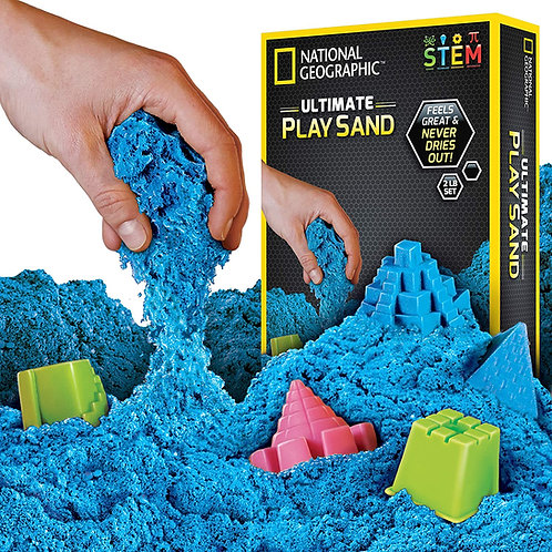 National Geographic Blue Play 900 g of Sand with Castle Moulds and Tray