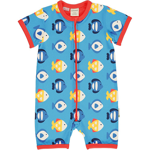 Maxomorra Tropical Aquarium Short Zip Rompersuit