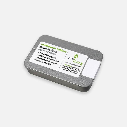 Eco Living toothpaste tablets fluoride free with tin