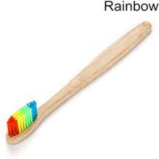 Bamboo toothbrush with rainbow bristles