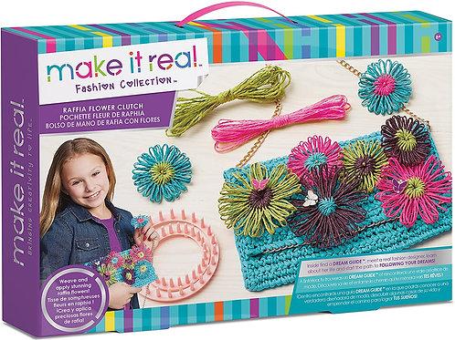 Make It Real Raffia Flower Clutch Set