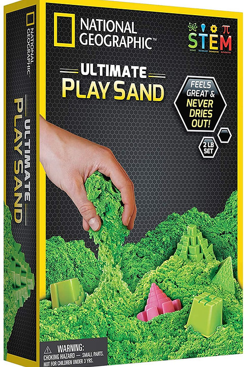 National Geographic Green Play 900 g of Sand with Castle Moulds and Tray