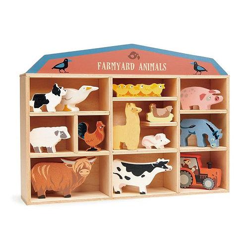 Tender Leaf 13 Farmyard Animals & Shelf