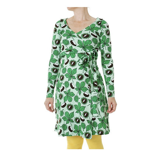 Duns Chestnut Brook Green Long Sleeved Wrap Dress