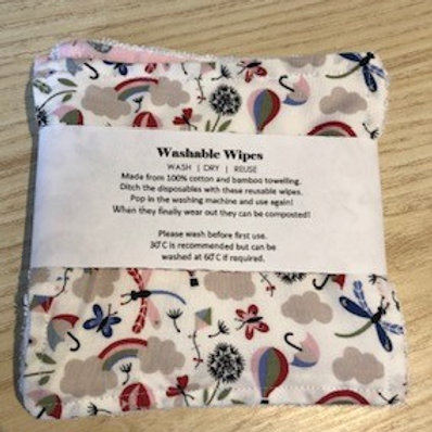 Reusable Bamboo Washable Wipes large stripes pack of