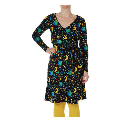 Duns Mother Earth Black Long Sleeved Wrap Dress