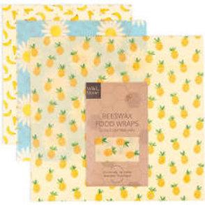 Wild & Stone Beeswax Food Wraps - Fruit - 3 Pack (2x Medium, 1x Large)