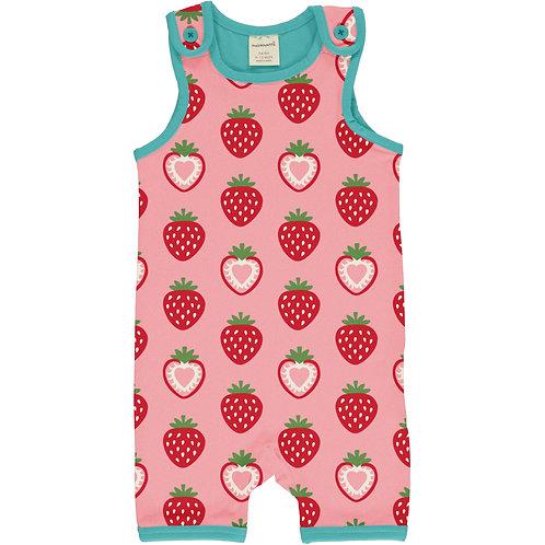 Maxomorra Strawberry Short Playsuit/dungarees