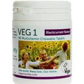 Vegan Society VEG 1 Blackcurrant Flavour Multi Vitamins Vegan 90tabs