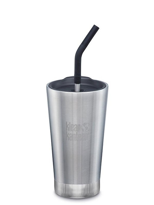 Klean Kanteen Insulated Tumbler 16oz (473ml) with Straw Lid Brushed Stainless