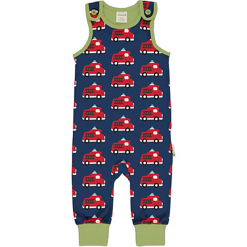 Maxomorra Fire Truck Playsuit/dungarees