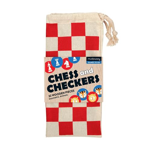 Mudpuppy Geometric Animals Chess and Checkers