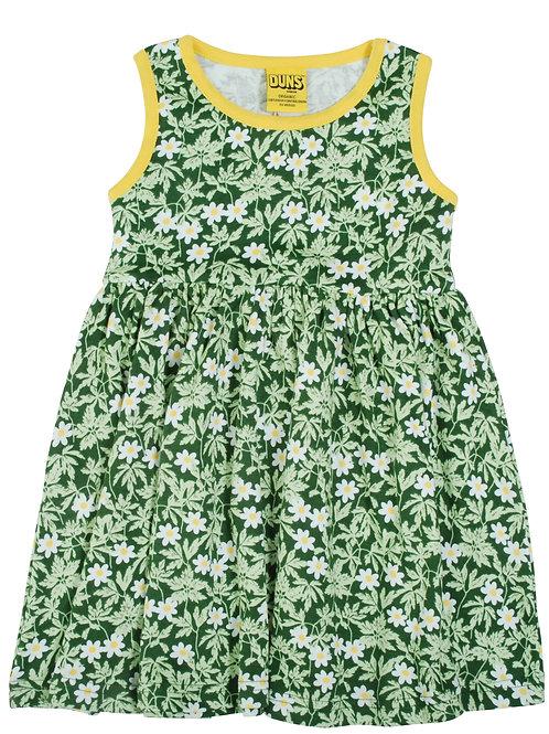 Duns Wood Anemone Green Sleeveless Gather Dress