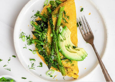 Chickpea Omelette with Asparagus