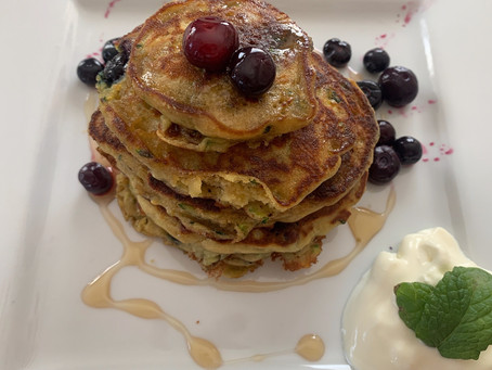 Courgette, Banana & Blueberry Pancakes