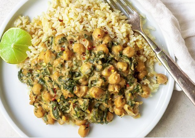 Chickpeas With Sweet & Spicy Peanut Sauce