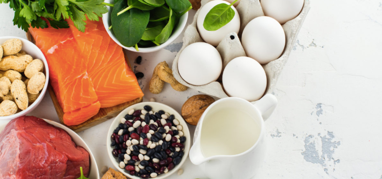 Protein foods, salmon, eggs, beef, peanuts, eggs, legumes