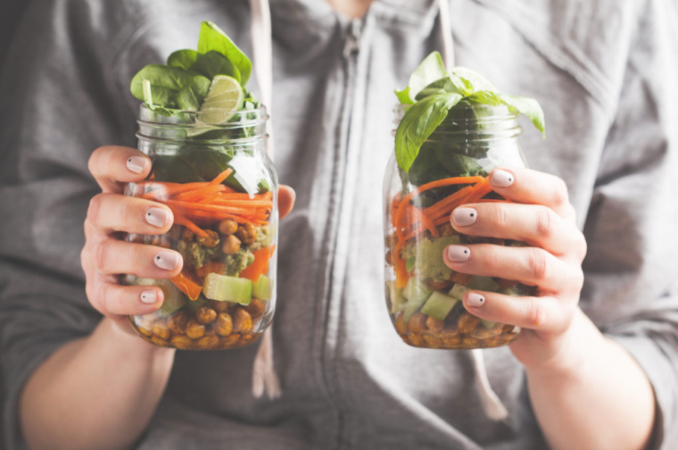 Mason Jars Of Raw Vegetables and Legumes
