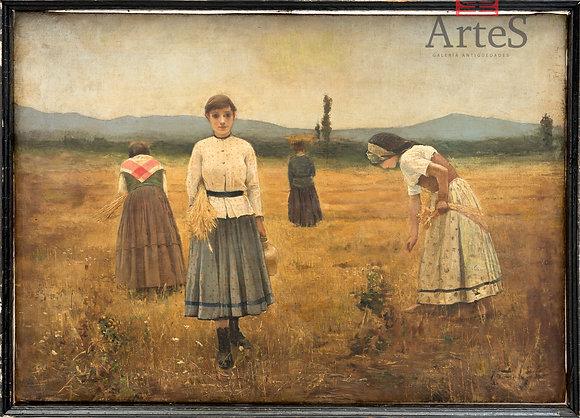 Segadoras recogiendo trigo. De la escuela de Millet (Manet).