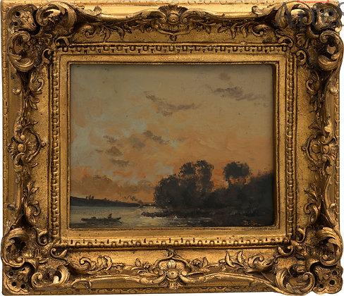 Escena de paisaje con rio. Firmado por: B. Giardi