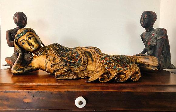 Buda Reclinado. de origen Birmano siglo XIX