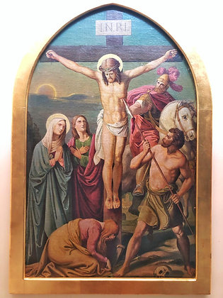 Vía crucis, representando la 12da. Estacion, Jesus muere en la cruz.