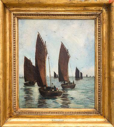 Barcas oleo sobre tela del pintor italiano Filiberto Minozzi