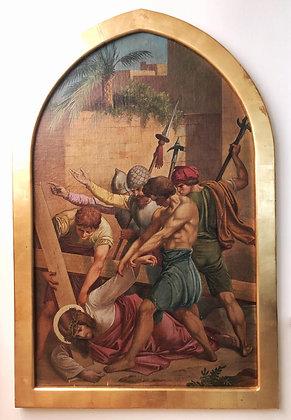 Vía crucis, representando la 9na. Estacion, tercera caida de Jesús