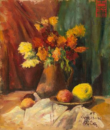 Pintura que representa Naturaleza muerta de flores y frutos.