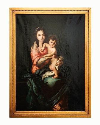 """la """"Virgen con el Niño"""", óleo sobre lienzo de finales del XVII o principios del"""