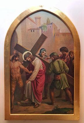 Vía crucis, representando la 2da. Estacion. Jesús cargando la cruz