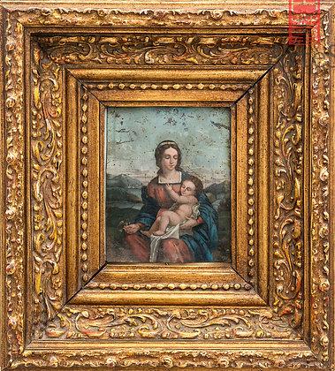 Madonna, oleo sobre lamina de cobre.