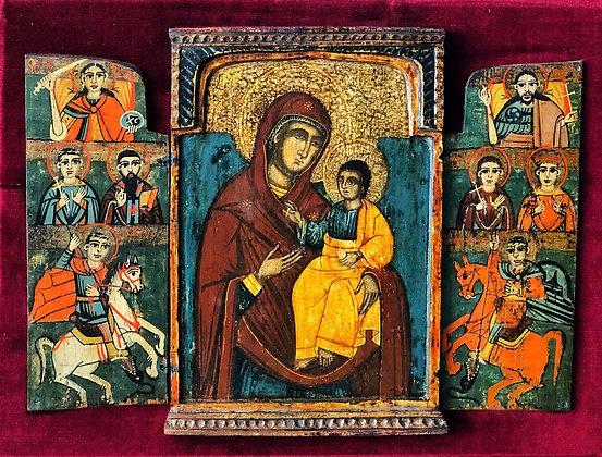 """Icono ruso """"Virgen con Niño y santos"""""""