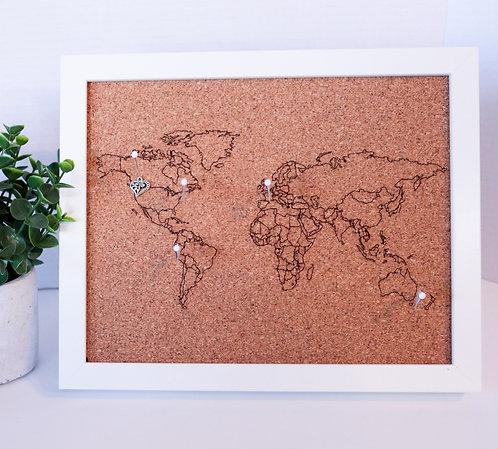 Traveler's Journey Pin Map - Rastered - White Frame - SMALL