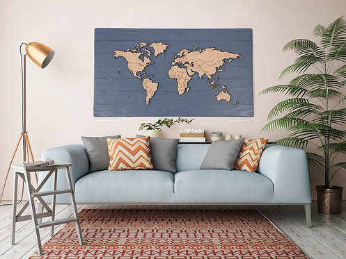 "Traveler's Journey Pin Map - Charcoal Blue - 48"" x 27"""