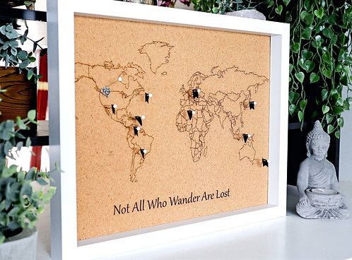 Not All Who Wander Are Lost - Travel Pin Map - White Frame