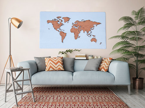 "WHOLESALE Push Pin Travel Map - Teal - 48"" x 27"""